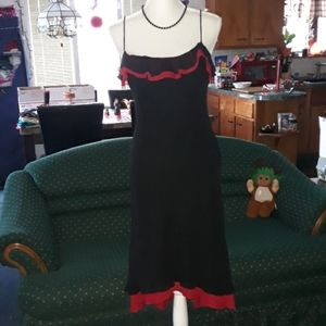 Bisou Bisou black and red high low strappy dress